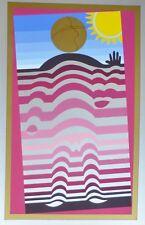 """VICTOR VASARELY """" SUNBATHER """"1982 HAND SIGNED (Sun-man) op art silkscreen"""