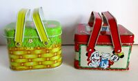 2 Metal Tin Basket w Lid Micky Mouse Christmas Easter Egg Basket Amscan Vintage