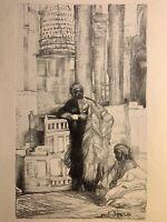 Anna MORSTADT gravure lithographie orientaliste à l'heure du Moghreb Maroc