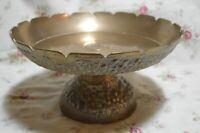 Brass Grape Vine Pedestal Bowl Cake Plate  Vintage  Patina
