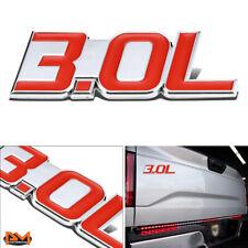 """""""3.0L""""Polished Metal 3D Decal Red&Silver Emblem For Mercedes//BMW/Audi/Jaguar"""