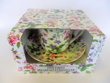 Gift boxed jumbo cup and saucer in pretty Dog Rose design