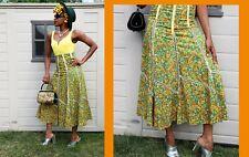 70s Vintage trippy Hippie boho fit Flare Maxi Skirt see Through Design Xs-S