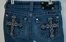 Miss Me Size 25 Boot Cut Jeans with Cross Back Pockets JP5633B3