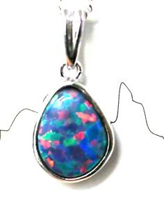 Natural Boulder Doublet Opal Pendant Solid Sterling Silver For Mother's Day Gift