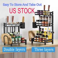 2/3 Tier Seasoning Rack Countertop Spice Holder Organizer Kitchen Storage Shelf