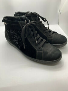 Mephisto Mobils Black Embellished Suede Zipper Lace Shoes Booties Sz 38 (Wide)