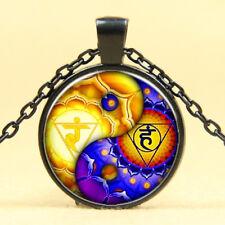 Wholesale Art Photo Cabochon Glass Black  Chain Pendant Necklace , Chakras Yoga