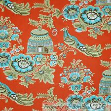 BonEful Fabric Cotton Quilt Amy Butler Orange Blue PEACOCK Flower Bird FQ SCRAP