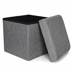Storage Ottoman, Foldable Cube Ottoman with Storage for Children, Foot Grey