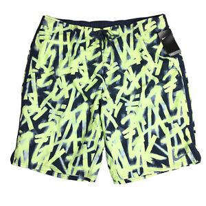 Nike REPEL Men's Swimsuit Swim Trunks Shorts Size 3XLT Yellow Black NWT