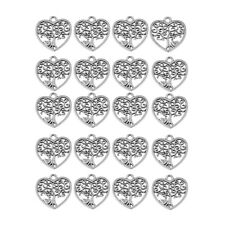 20pcs Alloy Heart Trees Charms Pendant for Jewelry Making Necklace Accessories
