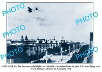 OLD 8x6 PHOTO FIRST AEROPLANE FLIGHT OVER ADELAIDE c1914 SOUTH AUSTRALIA