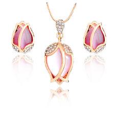 Blush Light Pink Moonstone Imitation Tulip Flowers Stud Earrings Necklace S935