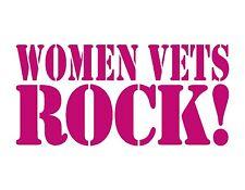 "WOMEN VETS ROCK PINK VINYL DECAL RED 4.25"" x 9"" VETERAN FEMALE MILITARY"