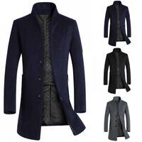 Herren Trenchcoat Einreihig Warme Outwear Lange Winter Jacke Formeller Mantel D