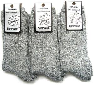 3 Paar Herren Norweger Socken Polstersohle naturwarm 100% Wolle grau 39 bis 46