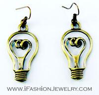 Light Bulb Bronze Dangle Earrings Bright Ideas Artisan Brass Gold Tone Jewelry