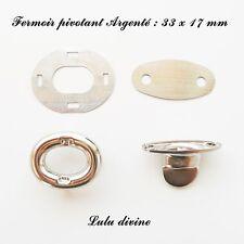 Fermoir pivotant Ovale Tourniquet de sac / Pochette Argenté : 33 x 17 mm