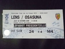 Tickets- 2006/07 UEFA Cup- LENS v OSASUNA, 2 November 2006
