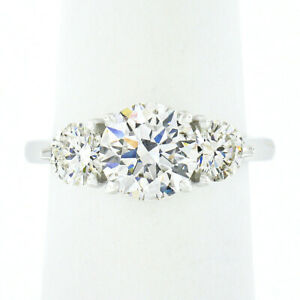 NEW 14K Gold 2.69ctw GIA Triple Excellent Round Diamond 3 Stone Engagement Ring