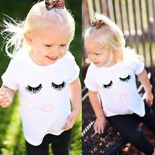 Charmant Enfant Cil Lèvres Imprimé T-shirt Manche Courte Garçons Filles Vêtement