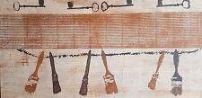 """JOSÉ LAPASIÓ EXCELENTE CUADRO ORIGINAL """"PINCELES Y LLAVES"""" 44.50x 87 cm. COA"""