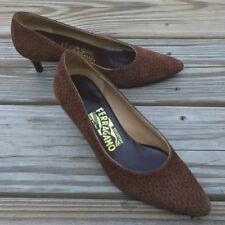 Ferragamo Leopard Genuine Suede Leather Pumps Size 5 Brown Leopard Print Suede