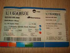 Billet Ticket Ligabue Elle Live 2008 Tour 4-7-2008 Milano Stade Meazza