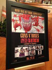 """FRAMED GUNS N ROSES """"APPETITE FOR DESTRUCTION"""" 2018 REMASTER ALBUM CD PROMO AD"""