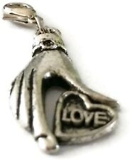SILVER HAND HOLDING A HEART WITH LOVE ON IT  CLIP ON CHARM  - SILVER ALLOY - NEW