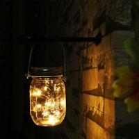20LED Solar Mason Jar Licht Deckel Leuchtet Hochzeit Party Outdoor /Indoor Décor