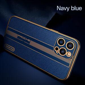 MOBILE PHONE CASE/COVER IPHONE 11/12 BLUE/GOLD PU LEATHER SOFT TPU MENS
