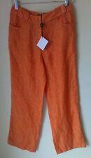 WEEKEND MAX MARA Orange Linen Wide Leg Casual Pants Sz 8 NWT
