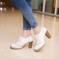 Womens Lace Wing Tip Lace Up Pumps Candy Shoes High Block Heels Brogue Oxfords