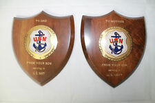 2 US Navy Wood Plaques  To Mother  To Dad From Your Son Serving in U.S. Navy