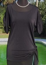 Cache $88 RUCHED SIDE TIE STRETCH SILK POLY Top NWT Tunic Stretch XS/S/M