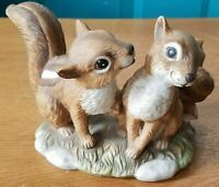 "Homco Masterpiece porcelain ""Sweetheart Chipmunks"" figurine dated 1990"