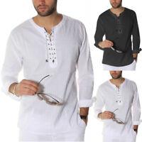 2019 Autumn Mens Causal Formal Shirt Lace up Long Sleeve Tops Baggy T-shirt Tops