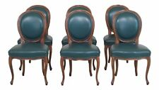 L30473EC: Set Of 6 Green Leather French Style Dining Room Chairs