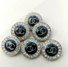 6 pc AUTHENTIC  CHANEL 20 MM RHINESTONE BUTTONS  BLACK GOLD