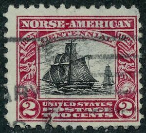 US 1925 #620 - 2c Norse American Issue Carmine & Black Used Tear Filler