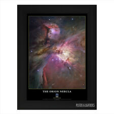 Orion Nebula Galaxy Space Stars Hubble Telescope Framed Poster A4 Black Frame