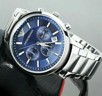 NEW GENUINE EMPORIO ARMANI AR2448 BLUE DIAL STAINLESS STEEL MENS WATCH UK GIFT