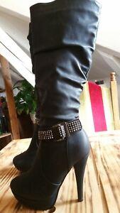 megasexy high heels heiß goth grufti gogo plateau stiefel gr 36