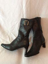 JB Martin Black Mid Calf Leather Boots Size 37