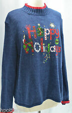 TIARA INTERNATIONAL VTG UGLY BUSY CHRISTMAS HOLIDAYS bead embroidered SWEATER L