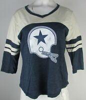 Dallas Cowboys NFL Pro Line Women's Navy & White Throwback Logo V-Neck Tee
