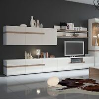 Solna Living Wide 3 Door TV Unit in white with an Truffle Oak Trim