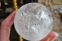 Crystal ball sphere clear quartz Mica Rainbows Polished Healing scrying 329g